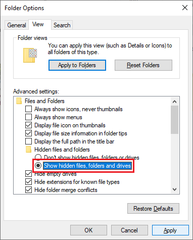 Pilih Show hidden files, folders, and drives