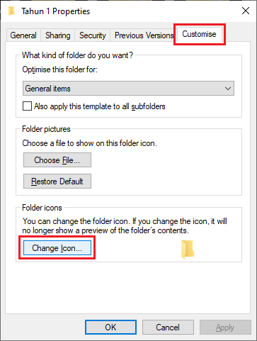 Pada tab Customise, klik Change Icon