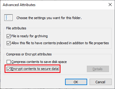 Centang Encrypt content to secure data