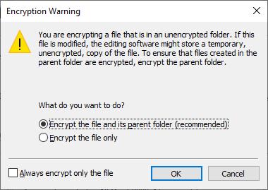 Peringatan bila enkripsi file