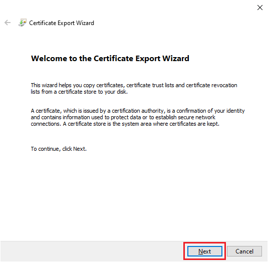Klik Next pada Certificate Export Wizard
