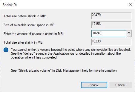 Klik Shrink untuk memulai proses