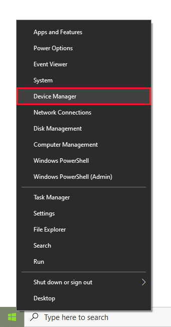 Klik kanan pada Start Menu - Device Manager