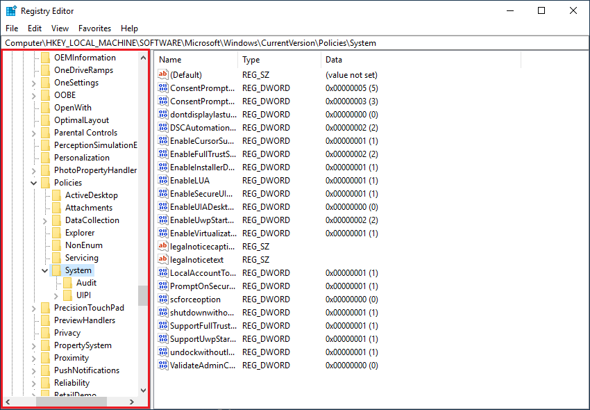 Arahkan menuju ke HKEY_LOCAL_MACHINE\SOFTWARE\Microsoft\Windows\CurrentVersion\Policies\System