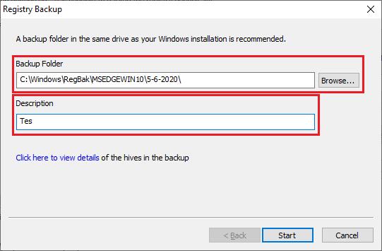 Memilih lokasi dan mengisi deskripsi backup registry