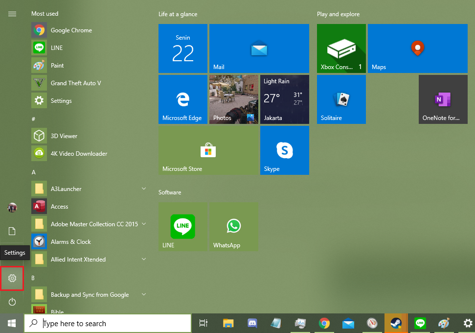 Klik Settings pada Start Menu