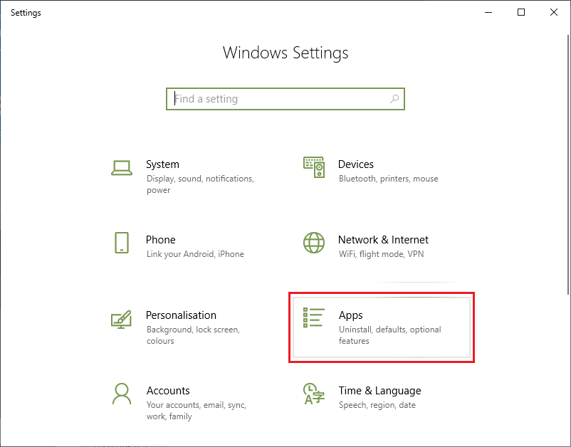 Pilih menu Apps pada Windows Settings