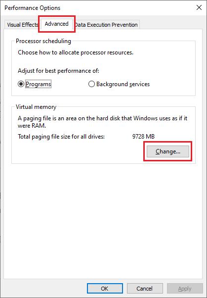 Pada tab Advanced, arahkan ke bagian Virtual Memory lalu pilih Change